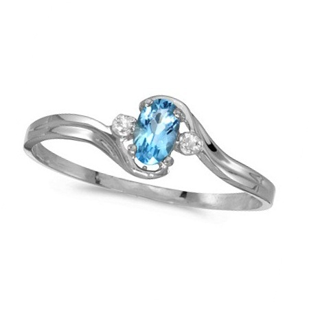 Oval Blue Topaz and Diamond Right-Hand Ring 14K White Gold (0.28ctw)