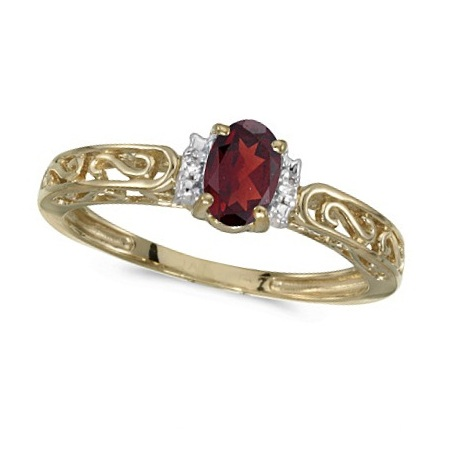 Oval Garnet & Diamond Filigree Antique Style Ring 14k Yellow Gold