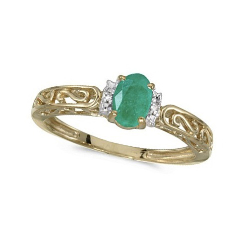 Oval Emerald & Diamond Filigree Antique Style Ring 14k Yellow Gold