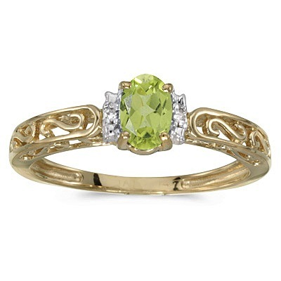 Oval Peridot & Diamond Filigree Antique Style Ring 14k Yellow Gold