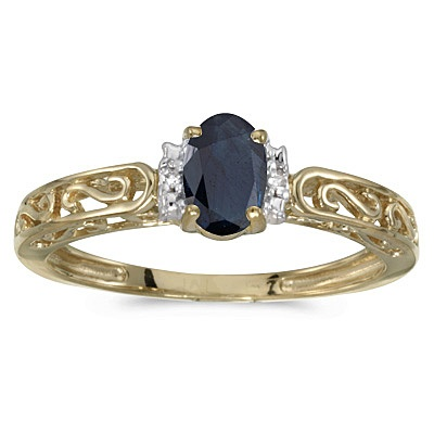 Blue Sapphire & Diamond Filigree Antique Style Ring 14k Yellow Gold