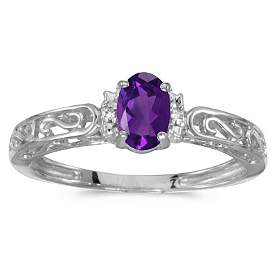 Oval Amethyst & Diamond Filigree Antique Style Ring 14k White Gold