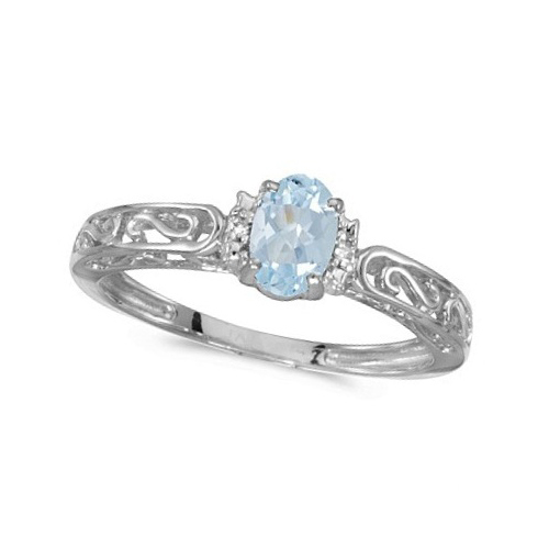 Oval Aquamarine & Diamond Filigree Antique Style Ring 14k White Gold