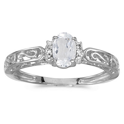 White Topaz & Diamond Filigree Antique Style Ring 14k White Gold