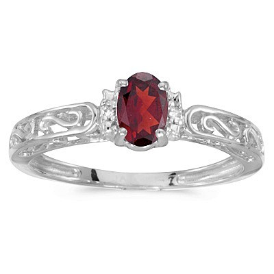 Oval Ruby & Diamond Filigree Antique Style Ring 14k White Gold