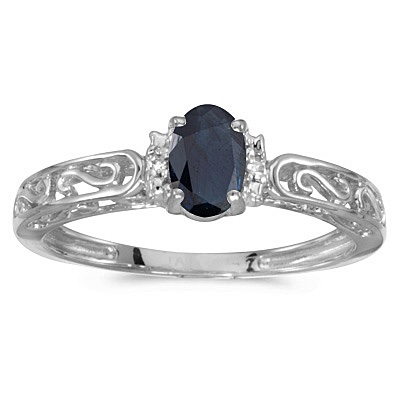 Blue Sapphire & Diamond Filigree Antique Style Ring 14k White Gold