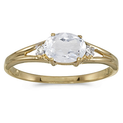 Oval White Topaz & Diamond Right-Hand Ring 14K Yellow Gold (0.59ct)