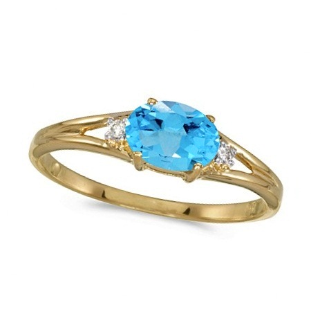 Oval Blue Topaz & Diamond Right-Hand Ring 14K Yellow Gold (0.59ct)