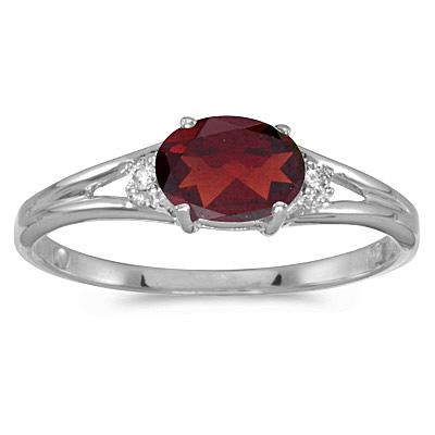 Oval Garnet & Diamond Right-Hand Ring 14K White Gold (0.55ct)