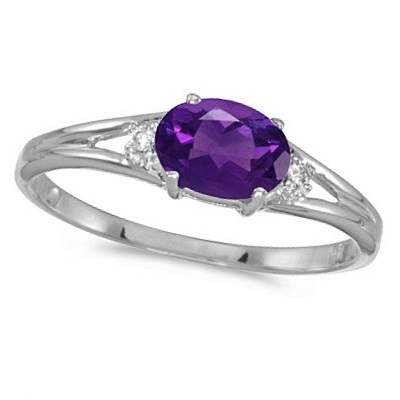 Oval Amethyst & Diamond Right-Hand Ring 14K White Gold (0.45ct)