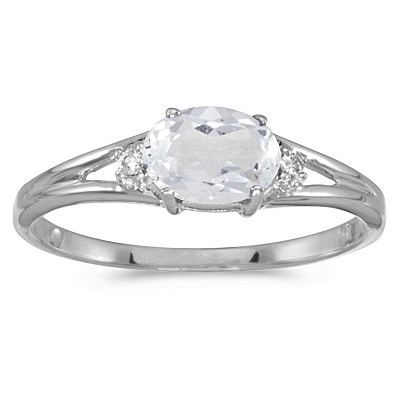 Oval White Topaz & Diamond Right-Hand Ring 14K White Gold (0.59ct)
