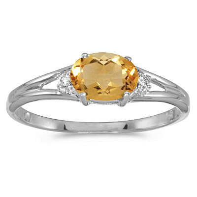 Oval Citrine and Diamond Right-Hand Ring 14K White Gold (0.45ct)