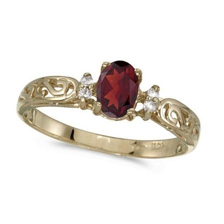 Garnet and Diamond Filigree Ring Antique Style 14k White Gold