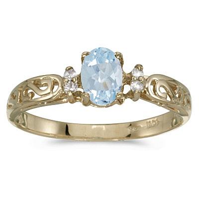 Aquamarine and Diamond Filigree Ring Antique Style 14k White Gold