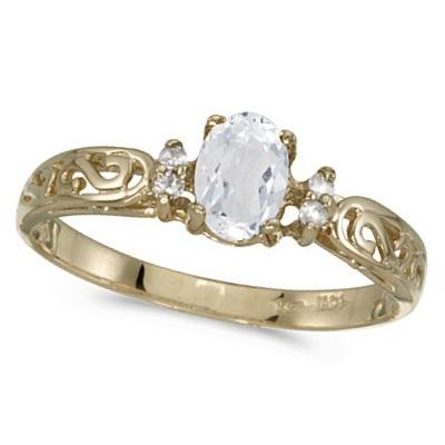 White Topaz and Diamond Filagree Ring Antique Style 14k Yellow Gold