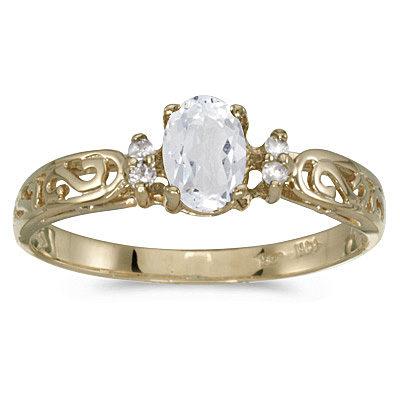 White Topaz and Diamond Filagree Ring Antique Style 14k Yellow Gold