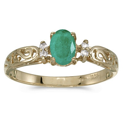Emerald and Diamond Filigree Ring Antique Style 14k Yellow Gold