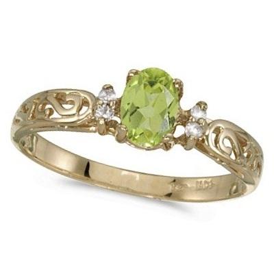 Peridot and Diamond Filigree Ring Antique Style 14k White Gold