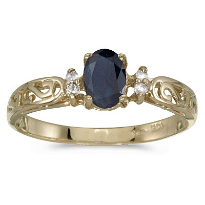 Blue Sapphire and Diamond Filigree Ring Antique Style 14k Yellow Gold