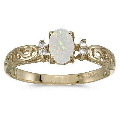 Opal and Diamond Filigree Ring Antique Style 14k Yellow Gold