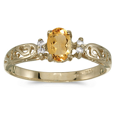 Citrine and Diamond Filigree Ring Antique Style 14k Yellow Gold