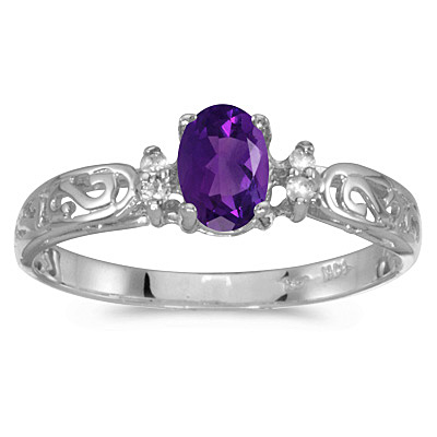 Amethyst and Diamond Filagree Ring Antique Style 14k White Gold