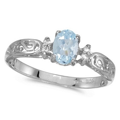 Aquamarine and Diamond Filagree Ring Antique Style 14k White Gold