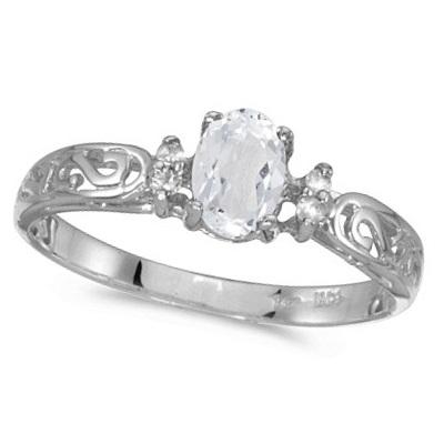 White Topaz and Diamond Filagree Ring Antique Style 14k White Gold