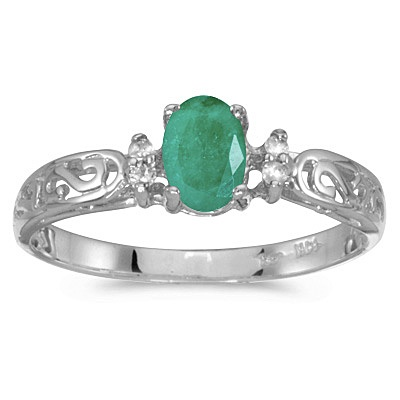 Emerald and Diamond Filagree Ring Antique Style 14k White Gold