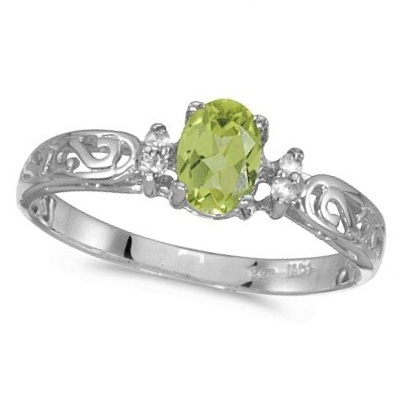 Peridot and Diamond Filagree Ring Antique Style 14k White Gold