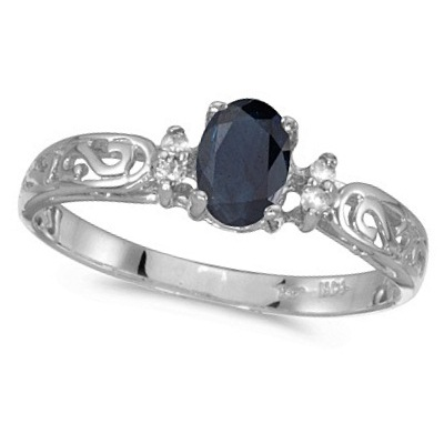 Blue Sapphire and Diamond Filagree Ring Antique Style 14k White Gold