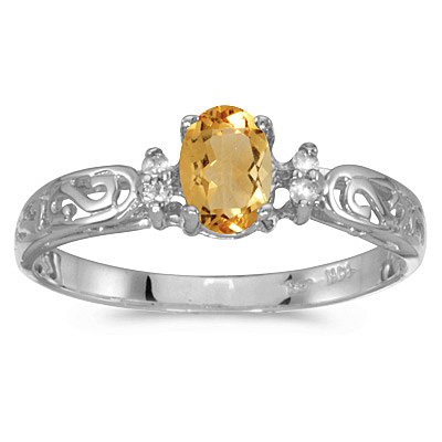 Citrine and Diamond Filagree Ring Antique Style 14k White Gold