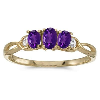 Oval Amethyst and Diamond Three Stone Ring 14k Yellow Gold (0.53ctw)