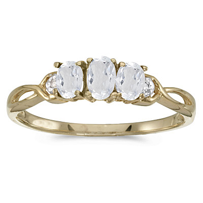 Oval White Topaz & Diamond Three Stone Ring 14k Yellow Gold (0.75ctw)