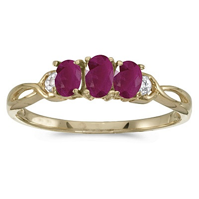 Oval Ruby and Diamond Three Stone Ring 14k Yellow Gold (0.75ctw)