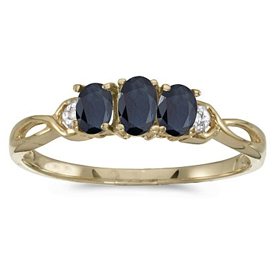 Oval Blue Sapphire & Diamond Three Stone Ring 14k Yellow Gold (0.65ct)
