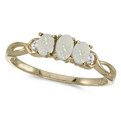 Oval Opal and Diamond Three Stone Ring 14k Yellow Gold (0.65ctw)
