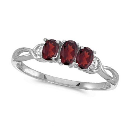 Oval Garnet and Diamond Three Stone Ring 14k White Gold (0.65ctw)