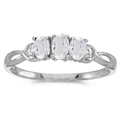 Oval White Topaz and Diamond Three Stone Ring 14k White Gold (0.75ctw)