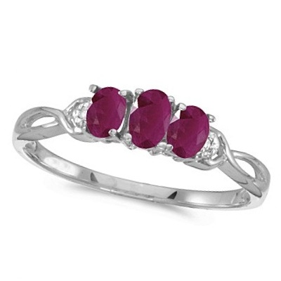 Oval Ruby and Diamond Three Stone Ring 14k White Gold (0.75ctw)