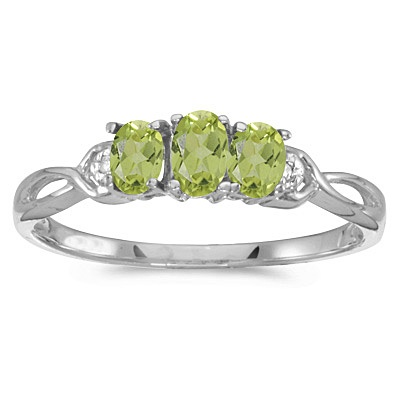 Oval Peridot and Diamond Three Stone Ring 14k White Gold (0.65ctw)