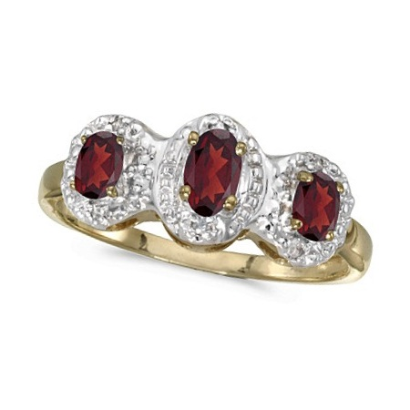 0.65tcw Oval Garnet and Diamond Three Stone Ring 14k Yellow Gold