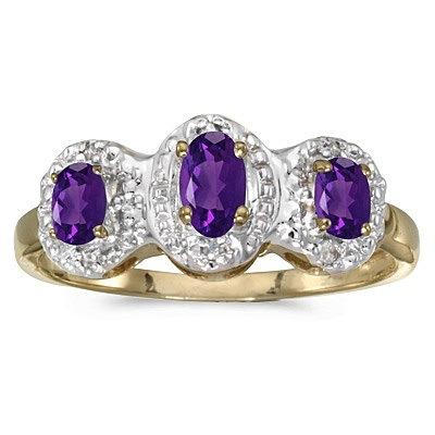 0.53tcw Oval Amethyst and Diamond Three Stone Ring 14k Yellow Gold