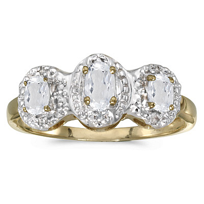 Oval White Topaz & Diamond Three Stone Ring 14k Yellow Gold (0.76ctw)