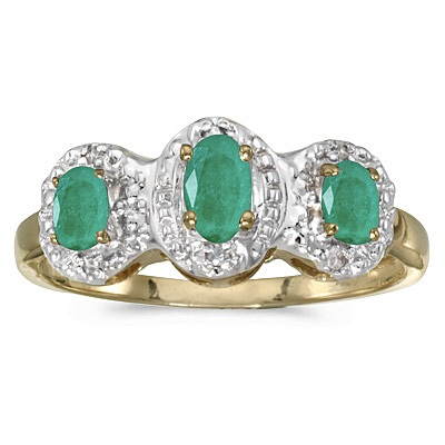 0.65tcw Oval Emerald and Diamond Three Stone Ring 14k Yellow Gold