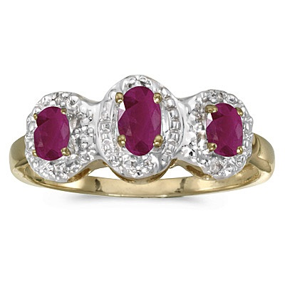 0.75tcw Oval Ruby and Diamond Three Stone Ring 14k Yellow Gold
