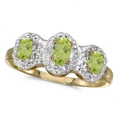 0.65tcw Oval Peridot and Diamond Three Stone Ring 14k Yellow Gold