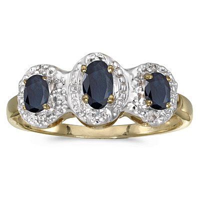 0.65tcw Oval Blue Sapphire and Diamond Three Stone Ring 14k Yellow Gold