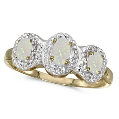 0.65tcw Oval Opal and Diamond Three Stone Ring 14k Yellow Gold