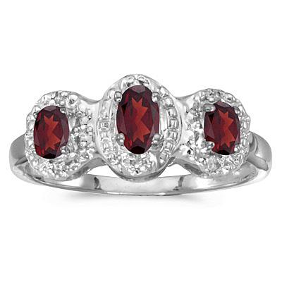 0.65tcw Oval Garnet and Diamond Three Stone Ring 14k White Gold